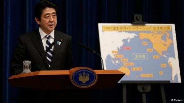 """Emerging countries in Asia are shifting to an open economy one after another. If Japan alone remains an inward-looking economy, there would be no chance for growth,"" Abe told a news conference and added ""this is our last chance. If we miss this opportunity, Japan will be left behind."""